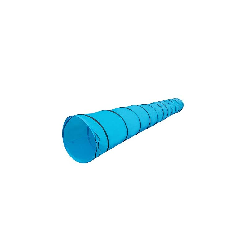 """dog supplies online houseables dog tunnel, agility equipment, 18 ft long, 24"""" open, blue, 1 pk, polyester, play tunnels for training small & medium dogs, park playground toy, large obstacle course, pets, w/ carrying case"""