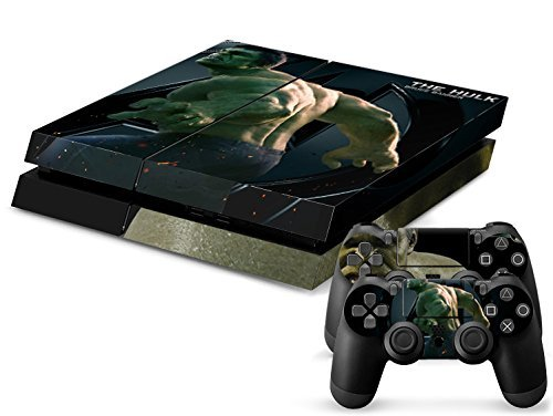 MightyStickers® PS4 Console Designer Protective Vinyl Decal Covers for Sony PlayStation 4 and Controller Skins Stickers - Marvel Comics The Avengers Movie Super Titan Heroes Big Green Incredible Hulk