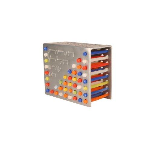 Yair Emanuel Aluminum Cast Candle Storage Menorah in Silver Tone