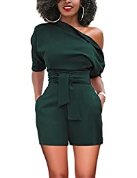 60fca26941e Women s Sexy One Shoulder Rompers Solid Jumpsuits Short Pants Playsuits