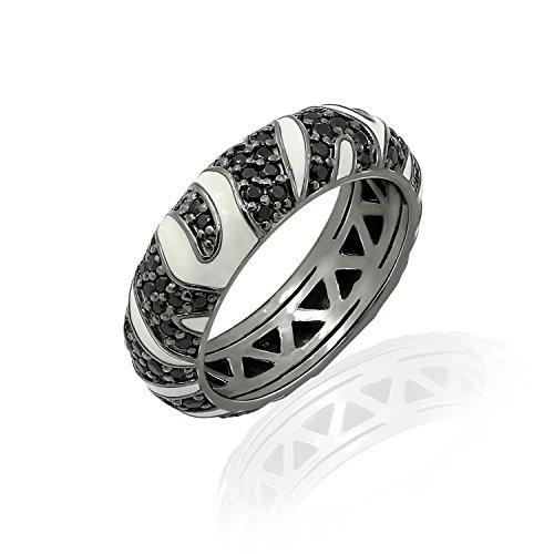 Zebra Print Enamel Ring (DIAMONBLISS Sterling Silver Enamel Cubic Zirconia Animal Print Eternity Ring - Zebra,Size 9)