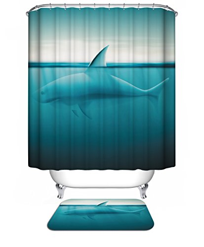 Shark in the Sea Mildew Free Shower Curtain with Hooks Bathroom Decoration Water-Repellent,72 x 72 inches,Blue (Shower Curtain Hooks Shark)