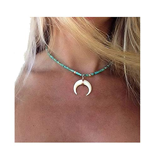 RUIZHEN Gold Silver Cresent Moon Horn Pendant Necklaces Women Moon Gothic Choker Necklace (Turquoise Bead)