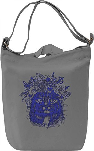 Cat With The Flower Crown Borsa Giornaliera Canvas Canvas Day Bag| 100% Premium Cotton Canvas| DTG Printing|
