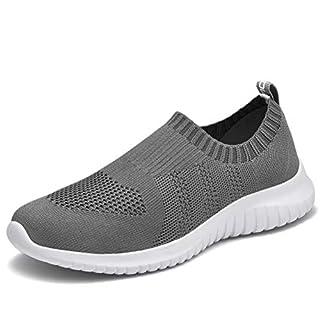 konhill Women's Walking Tennis Shoes - Lightweight Athletic Casual Gym Slip on Sneakers 8.5 US Dark Grey,40