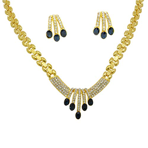 Gorgeous 22k Yellow Gold Plated Women Girl Jewelry Set Necklace Pendant Choker Earrings Cz 8mm 17 Inches