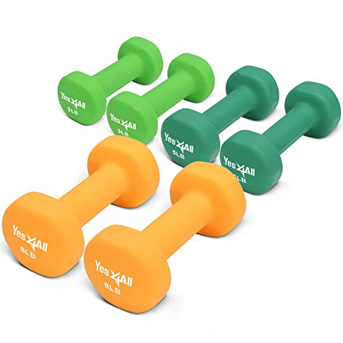 Yes4All 3, 5, and 8 lbs Dumbbells Neoprene with Non Slip Grip – Great for Total Body Workout – Total Weight: 32 lbs (Set of 3 pairs)