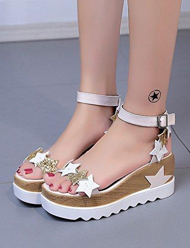 con Color UK5 gruesas Sandalias CN38 sandalias tacón de impermeables Mujer Nuevas 1 Tamaño EU38 sandalias 2 alto 5 5vxw6qg0H