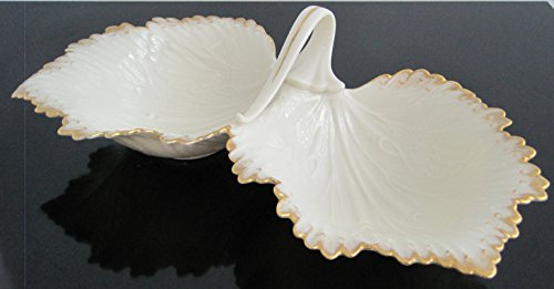 Lenox Antique Milk Glass Porcelain Candy Dish, Double Leaf Design, 10 -
