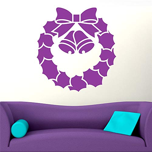 cinauc Removable Vinyl Decal Art Mural Home Decor Wall Stickers Christmas Wreath with Bow and Bells for Living Room Bedroom Nursery Kids Room