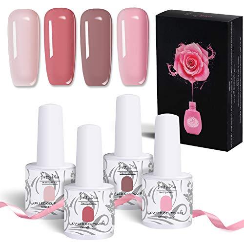 PrettyDiva Nail Polish, Gel Nail Polish Set - Cupid Nude Pink Series, Soak Off UV LED Gel Polish Kit Christmas Gift Idea - 4X Colors 0.34Oz.