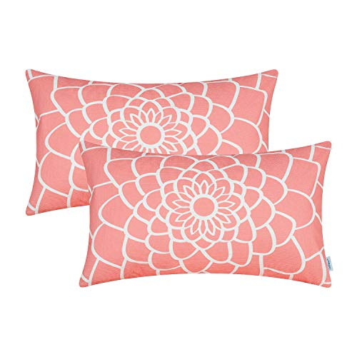 (CaliTime Pack of 2 Soft Canvas Bolster Pillow Covers Cases for Couch Sofa Home Decor Dahlia Floral Outline Both Sides Print 12 X 20 Inches Coral Pink)