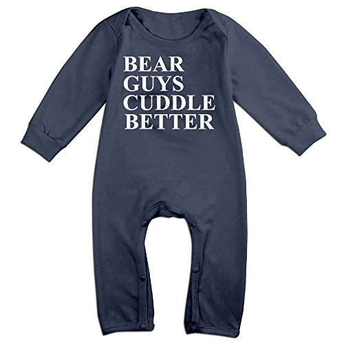 Infants Bear Guys Cuddle Better Long Sleeve Bodysuit Baby Onesie Baby Climbing Clothes Outfits Jumpsuit For 0-24 Months Navy 24 Months