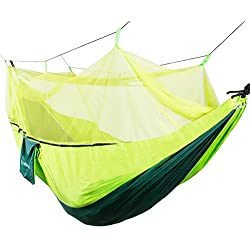 WolfWise Mosquito Net Hammock 2-Person Portable Parachute Double Camping Hammocks Kit with Carabiners and Hanging Rope