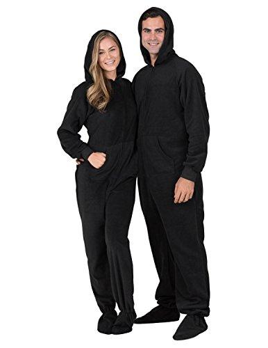 Footed Pajamas - Midnite Black Adult Hoodie Drop Seat Fleece- Medium (Drop Seat)