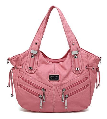 Scarleton Satchel Handbag for Women, Ultra Soft Washed Vegan Leather Crossbody Bag, Shoulder Bag, Tote Purse, Pink, H147605