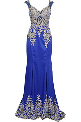 Blue Lace See Through Dress Dress Royal Sleeveless Avril A Prom Evening Applique line Sweep SFqxUnO