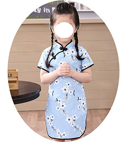 Baby Girl Chi-Pao Short Sleeve Dresses Chinese Children Clothes Girl's Cheongsam Floral Dress,3,121