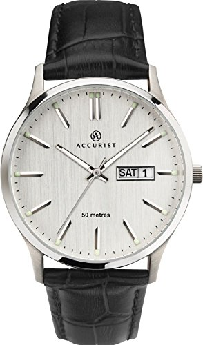(Accurist Gents Analogue Quartz Watch With Light Grey Dial And Black Leather Strap 7233)
