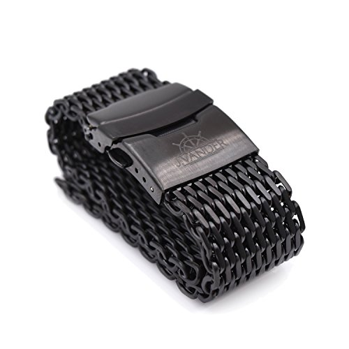 J.VANDER 24mm Brushed PVD Stainless Steel Shark Mesh Dive Watch Band Strap - Premium Clasp - Extra Long