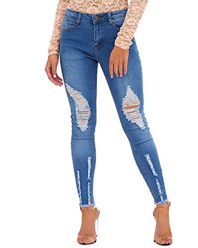 Stretch Jeans Bleu Jeans Femme Pantalons Dchir Leggings Trous Slim Skinny Dcontract Xwzwq