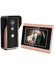 7 Pulgadas de Pantalla táctil con Cable WiFi Video cámara Puerta teléfono Anillo Intercom Home Smart Timbre de la Puerta Kit Sistema de cámara de Seguridad Inteligente(US Plug)
