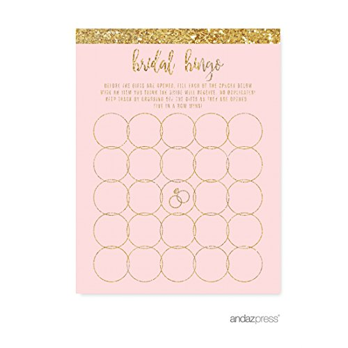 Andaz Press Blush Pink Gold Glitter Print Wedding Collection, Bridal Shower Bingo Game Cards, 20-Pack