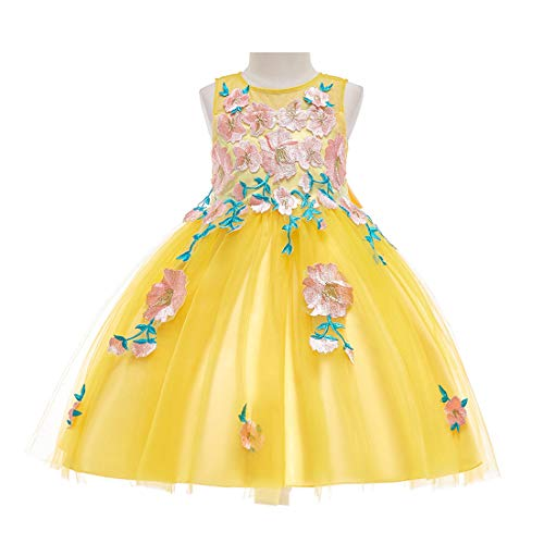 LIVFME Kids Wedding Dress Folwer Girl Princess Embroidered Pageant Elegantes Special Occasion Dresses 7t 8t M06A5