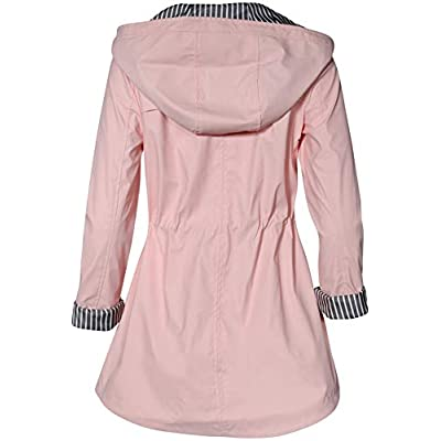 Urban Republic Women's Lightweight Hooded Raincoat Jacket with Cinched Waist: Clothing