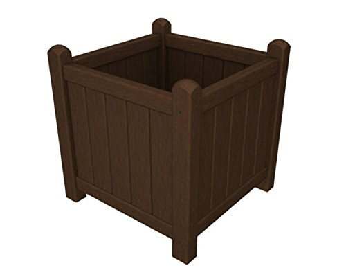 16'' Recycled Earth-Friendly Outdoor Square Garden Flower Planter - Mahogany by Eco-Friendly Furnishings
