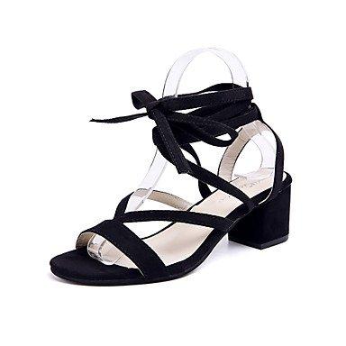 LvYuan mary jane sandalias de verano polar alineada al aire libre tacón grueso ocasional pie con cordones Black