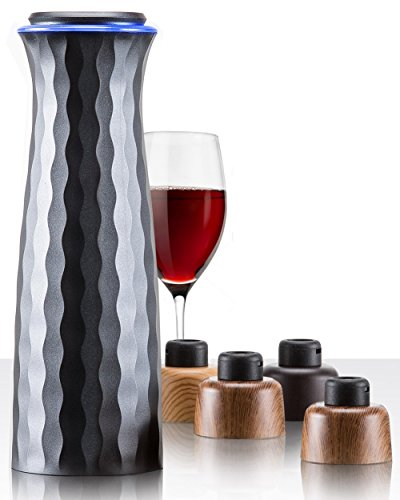 Electric Wine Saver Stopper Set: Mumba Wine Vacuum Sealer with Accessories - Automatic Air Seal Pump Machine and 4 Reusable Stoppers - Bottle Preserver Wine Accessory Kit for Men/Women Wine Lovers by Mumba