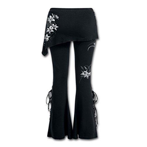 Damen Hohe Taille Hosen - Gothic Vintage Leggings mit Miniröcken Feste Bandage Blumenmuster Casual Lange Jeggings M-5XL #2