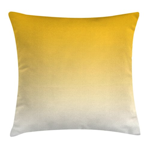 Ombre Throw Pillow Cushion Cover By Ambesonne  Summer Love On The Beach Theme Inspired For Yellow Lovers Modern Ombre Art Design  Decorative Square Accent Pillow Case  20 X 20 Inches  Light Yellow