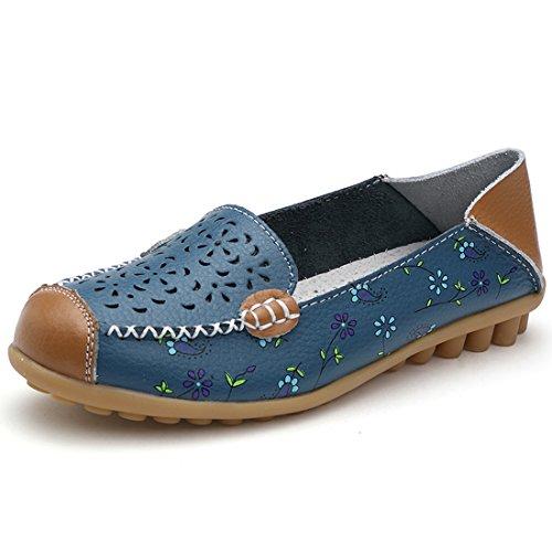 Z.SUO Mujer Mocasines de cuero Moda Loafers Casual Zapatos de conducción Zapatillas Azul