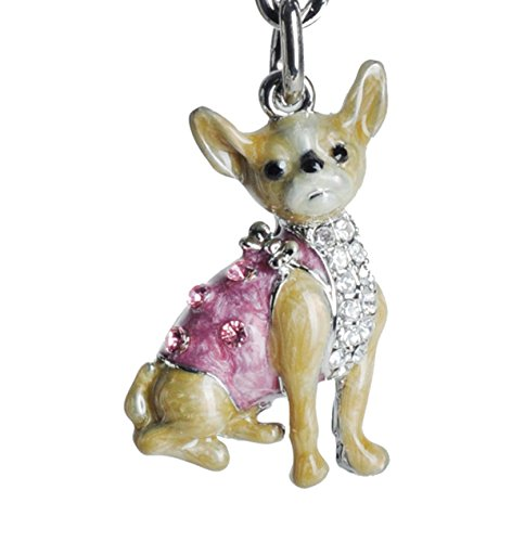 Lilly Rocket Yellow and Pink Enamel Chihuahua Bling Key Chain with Swarovski Crystals ()