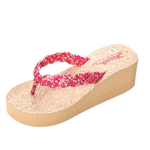 Damen Zehentrenner, Yogogo Leopard Flip Flops Hausschuhe Strand Sandalen Sommer Home Schuhe Rot