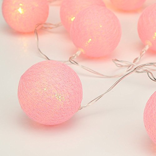 ELINKUME String Light LED, 20LEDs Beautiful Pink Cotton Ball, Warm White Lighting 3.3M Fairy Lights, Battery Powered Ideal Decoration for Party/Wedding/ Holiday