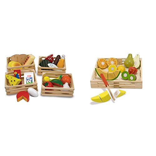 Melissa & Doug Food Groups - 21 Hand-Painted Wooden Pieces and 4 Crates with Melissa & Doug Cutting Fruit Set - Wooden Play Food Kitchen Accessory - Food Wooden Cutting Doug