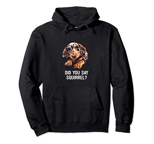 Dapple Dachshund did you say squirrel Hooded Sweatshirt -