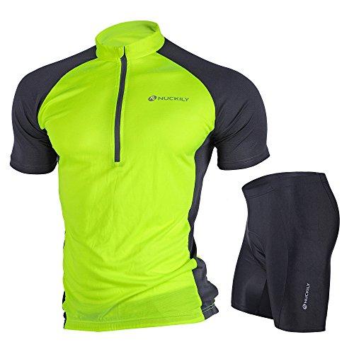 Nuckily Men's Summer Classic Lightweight Short Sleeve Cycling Jersey and 3D Gel Pad Short Set Neon Green X-Large