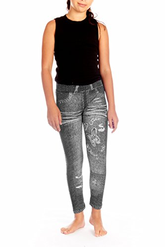 Crush Girls Distressed Denim with Butterfly Legging Pants Size 7 - 14 Black