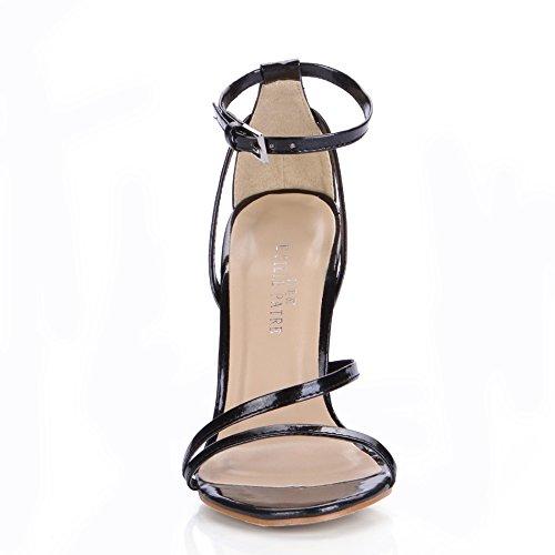 fonctionne office chaussures Nouvelles sauvages cuir talon bien de les dans peinture en minimaliste sandales noire Femmes UwqHRv
