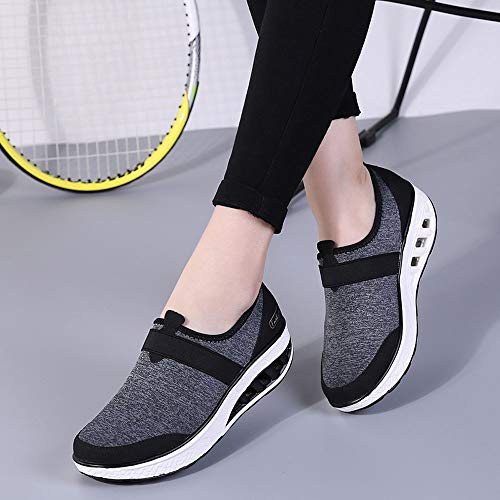 Holywin Shoes Womens Casual Shoes Increased Thick Wedge Black Running Soled Sneakers qfqF4rx0