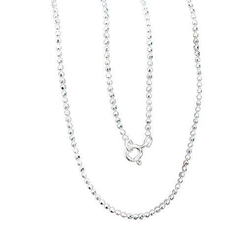 Brand New 925 Stering Silver Bead Round Ball Facet Cut Italian Style Chain 1.4 mm. x 18