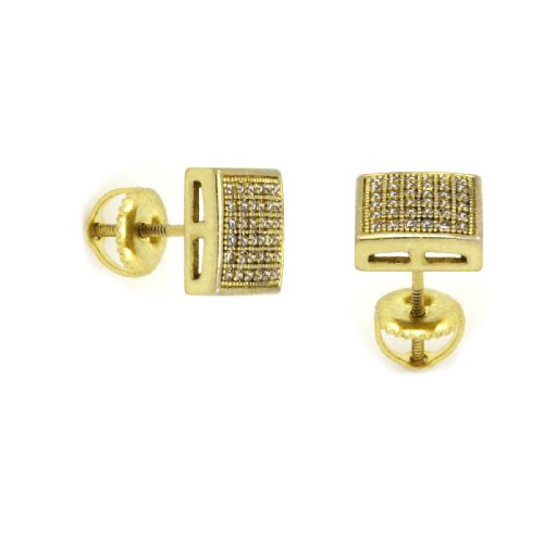- 14K Gold Plated Hip Hop High Fashion 6 Rows Micro Pave Dome Square Stud Screw Backs Earrings D6