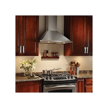 """Broan Elite EW5830SS 30"""" Wide Traditional Wall Mount Canopy Hood with 500 CFM Internal Blower Electronic Control and 3-Speed Control in Stainless"""
