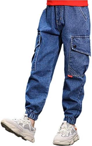 キッズ ジーンズ 男の子 デニムパンツ ロングパンツ 薄手 ボトムス 長ズボン ゆったり 無地 コットン 春夏秋 カジュアル 120-170cm