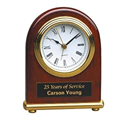 4 x 5 Rosewood Piano Finish Arch Desk Clock Custom Engraved/Personalized!!
