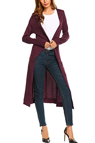 Vansop Women's Knit Ribbed Longsleeves Side Split Open Long Thin Sweater Cardigans(Wine Red M) (Split Ribbed Sweater)